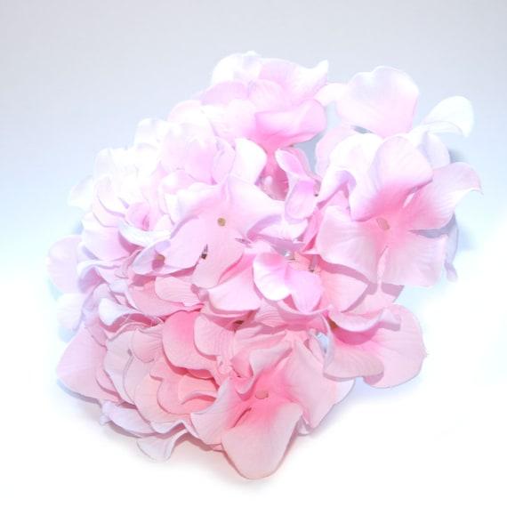 1 Jumbo Silk Hydrangea Bunch in Soft Pink - Full Head - Artificial Flowers, Silk Blossoms