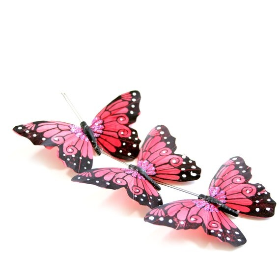 3 Large Shocking Pink Viceroy Butterflies for Hair Pins, Favors, Wedding Cakes