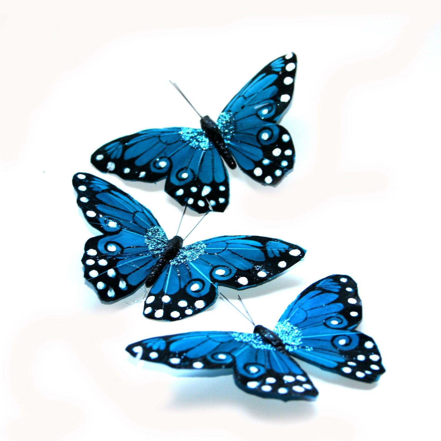 3 Large Turquoise Viceroy Butterflies For Hair Pins Favors
