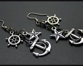 Silver Nautical Dangle Earrings