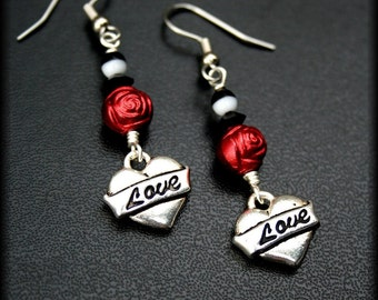 Red Roses and Tattoo Earrings, Silver Love Heart Earrings with Black Swarovski Crystals