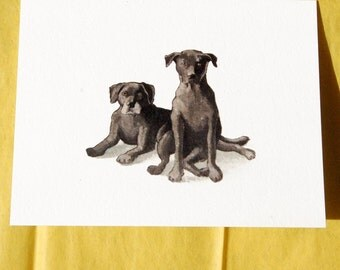 Black Labradors Greeting Cards - Set of 4 Blank Cards
