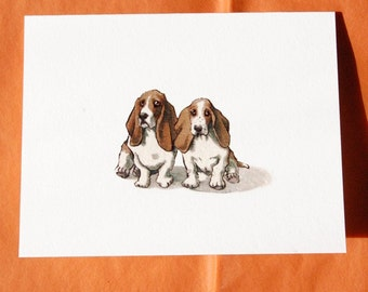 Basset Hound Greeting Cards - Set of 4 Blank Cards