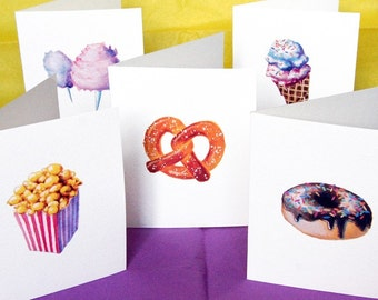 Junk Food Note Cards - Popcorn, Donuts, Ice Cream, Pretzel, Cotton Candy - Set of 5 Blank Cards