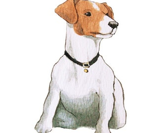 Illustrated Canine Note Cards - Jack Russell Terrier - Set of 5 Blank Cards