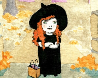 Trick or Treat Witch Halloween Cards - Set of 5 Illustrated Blank Cards