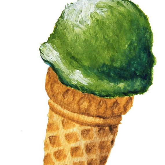 Green Pistachio Ice Cream in a Cone - Print 8.5 X 11