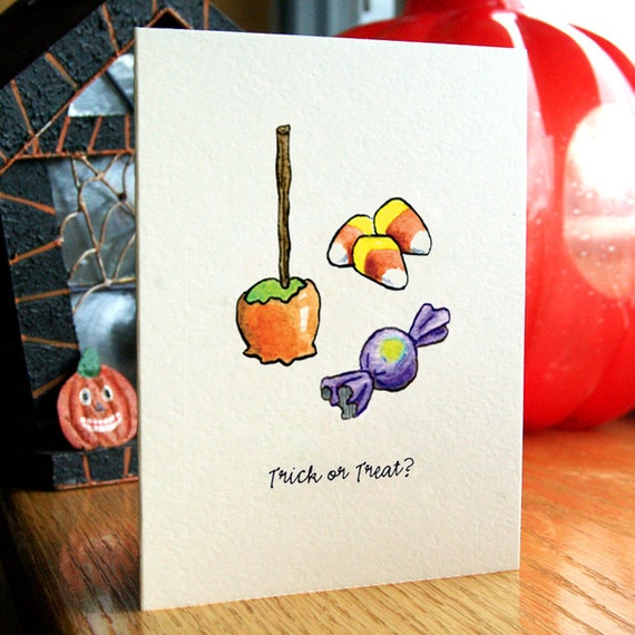 Trick or Treat Halloween Cards - Halloween Candy Greeting Cards - Set of 5