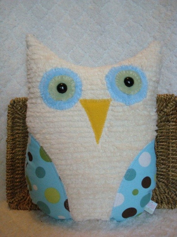 Big Giant Hoot Owl - Green and Blue Dots - Lollidots by Michael Miller