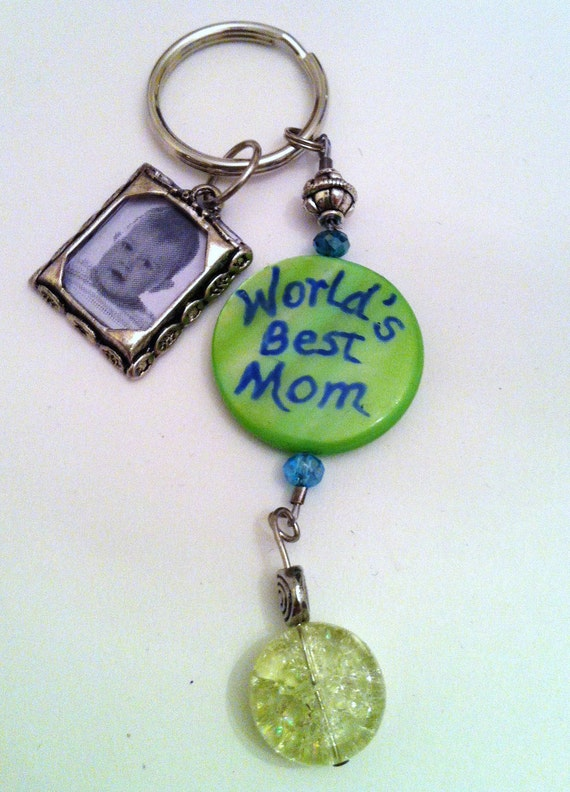 World's Best Mom Keychain / Zipper Pull / Purse Bling Handpainted with Photo Charm
