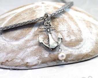 Anchor Pendant with Freshwater Perl and Chain, Sterling Silver, anchor pendant, pearl, nautical gift, gift for mom, got for her