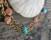 SUN ON THE NILE-Sunstone, Turquoise, and Chalcedony Necklace