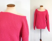RESERVED            1980s Limited Sweater Hot Pink Vintage 80s Waffle Knit Neon Boatneck Boxy Cut Pullover Oversized M L