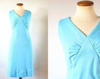 1960s Babydoll Dress Mod Shift Robins Egg Blue V Neck Gathered Bust Mini Sleeveless Aqua Party Vintage 60s M Medium Retro Baby doll
