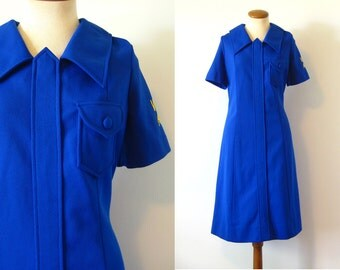 1970s Dress Mod VFW Aux Uniform Costume Stewardess Shift Blue Huge Pointy Collar A Line Scooter Vintage 70s Midi Large L Auxiliary Waitress