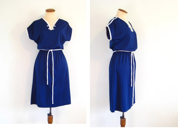 1970s Dress Nautical Navy Blue Vintage That 70s Show Day Disco Casual Sundress Rollerskating V Neck Cap Sleeve Midi Knee Length Medium M