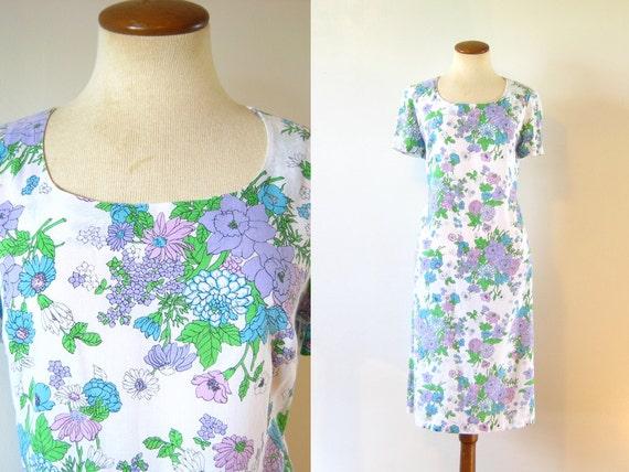 1970s Shift Dress A Line 70s Vintage Mod Floral Day Vintage Midi Short Sleeve White Purple Feminine Spring L Large