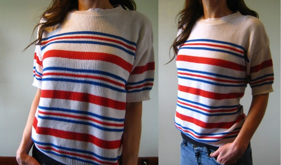1970s Sweater Top Short Sleeve Striped Red White Blue Summer Vintage 70s Wiggle Shirt M Medium L Large