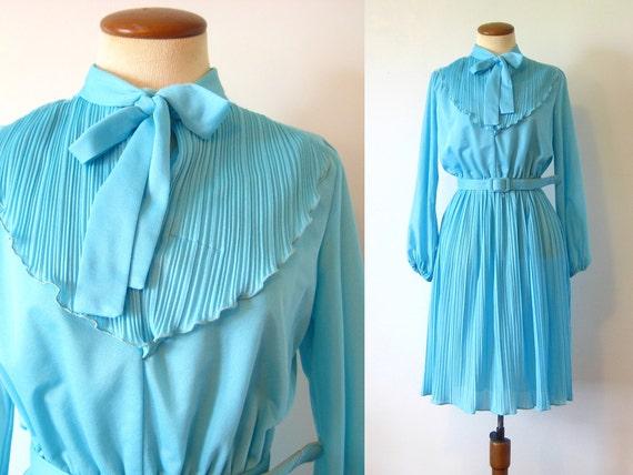 1960s Dress Mod Mini Aqua Party Dress Ascot Accordian Pleats Belted Semi Sheer Vintage 60s M Medium S Small