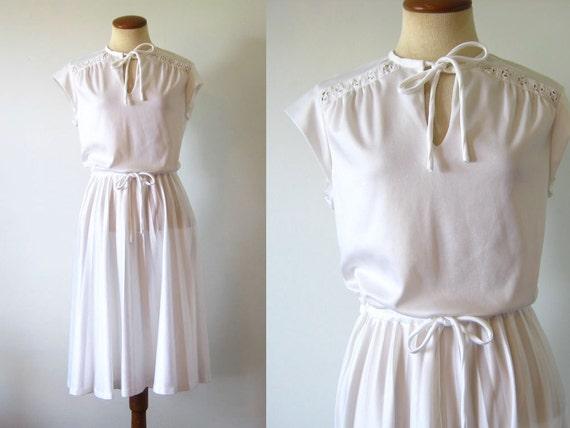 RESERVED           1970s Dress Summer Sundress White Lace Accordian Pleated Full Skirt Day Keyhole Boho Vintage 70s M Medium L Large