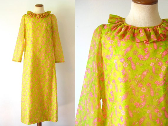 1960s Party Dress Mod Midi Shift Ruffled Neck Chartreuse Pink Paisley Semi Sheer Sleeve Vintage 60s Retro Sixties M Medium L Large Frill