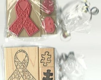 Autism Awareness Rubber Stamp Set Puzzle Pieces and Ribbon