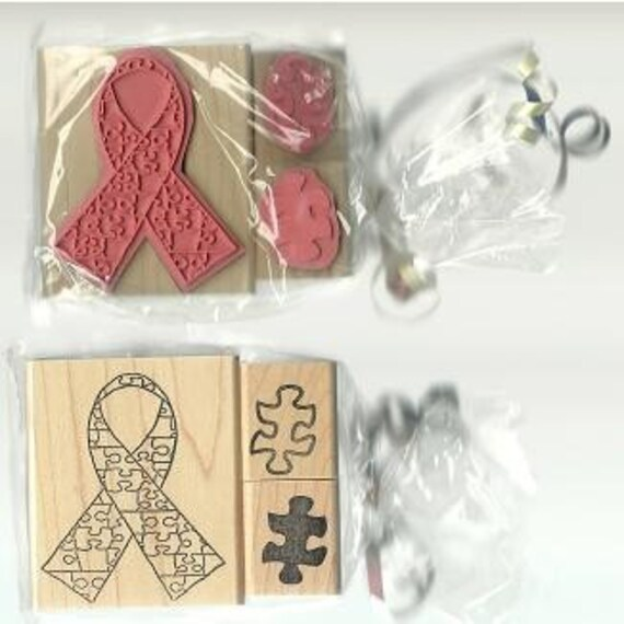 Autism Awareness Puzzle Piece Stamp Set Unmounted