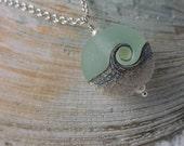 Ocean Wave Aqua Necklace, Handmade Lentil Bead, Lampwork Pendant Necklace, Beach Jewelry, Wedding, Bridal, Bridesmaid