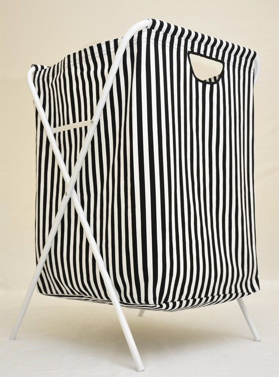Black and White Stripe Laundry Bag with Removable Stand