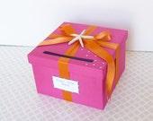 Wedding Card Box Hot Pink Orange Beach Theme Starfish Custom Made
