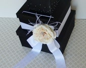 Ready to Ship! Wedding Card Box Money Gift Holder Crystals Customizable Black White