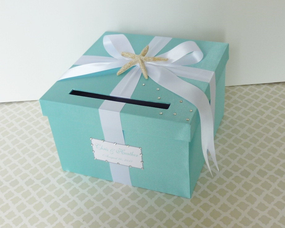 Wedding Gift Card Box Beach Theme : Wedding Card Box Tiffany Blue White Beach Theme Starfish Money