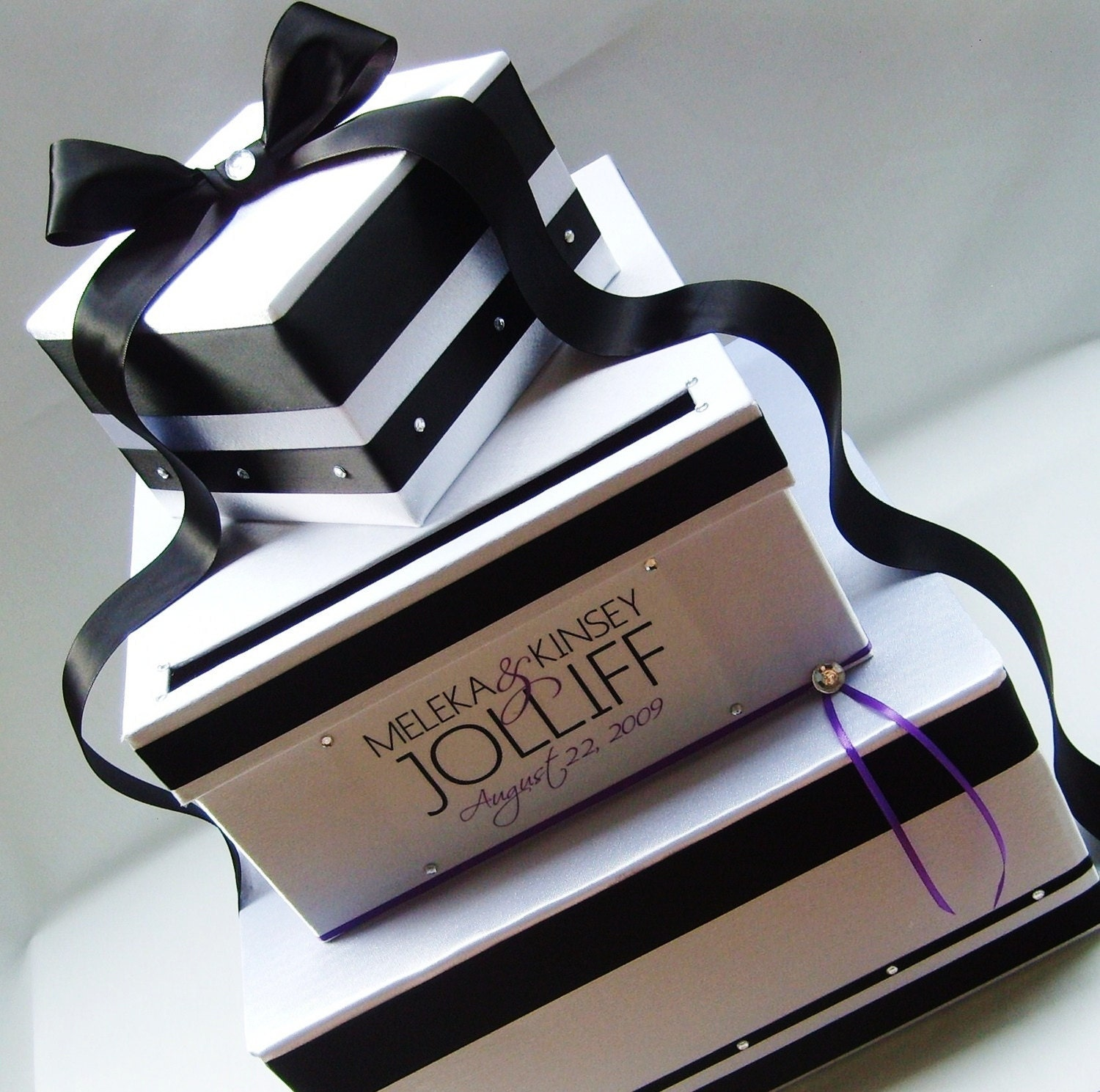WEDDING CARD BOX Money Holder Black White Customizable Your