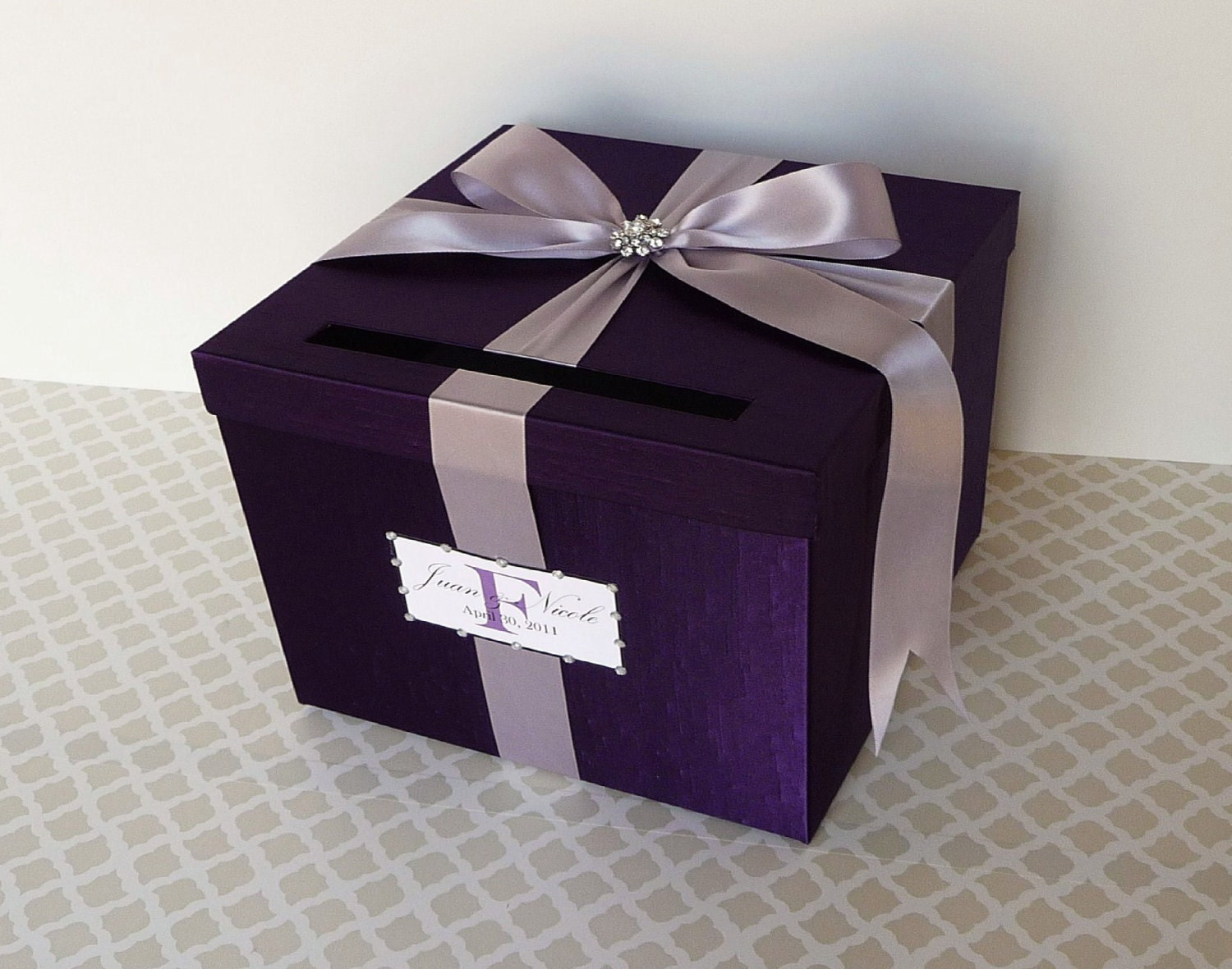 Wedding Card Box Purple Money Holder Customizable