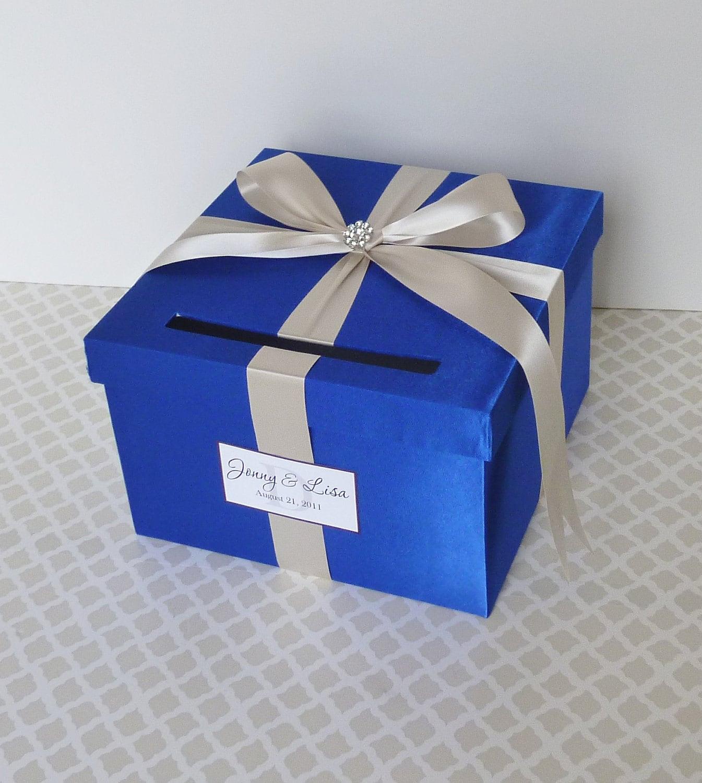 wedding card box royal blue money holderlittledivine