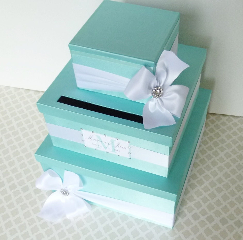 wedding card box money holder aqua tiffany blue white. Black Bedroom Furniture Sets. Home Design Ideas