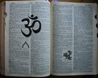 Om drawing on Vintage Dictionary Page
