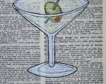 Martini Drawing on a Vintage Dictionary Page
