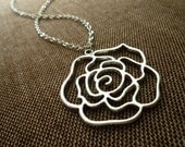 Silver or Brass Rose Necklace
