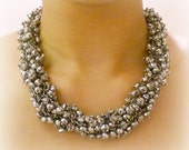 Silvery Black Chunky Beaded Necklace