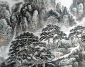 FREE SHIPPING/H10-055/scrolls/Art Oriental Chinese ink painting/watercolor/scroll/landscape/mountain Tai/famous artist