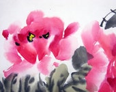 FREE SHIPPING/H10-073/Art Oriental Chinese ink painting/watercolor/mounted/red flower/peony/lucky/noble/happiness/asset/wealth