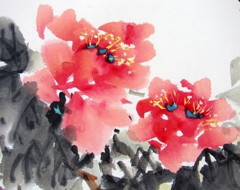 FREE SHIPPING/H10-029/Art Oriental Chinese ink painting/red flower/peony/wealth/happiness/famous painter/Chinese rabbit new year