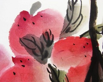 97 Oriental Asia Chinese watercolor painting peach means longevity mother day gift