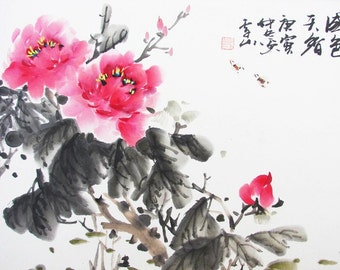 101 Oriental Chinese watercolor painting colorful peonys noble happiness wealth lucky