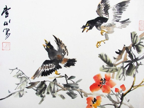 93  Asia artist Chinese painting love birds partner couple colorful flowers
