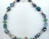 Ancient roman glass beads, neolithic  rock crystal  pendant bead necklace with vaseline beads