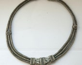 S A L E  -  Exquisite old  three row snake chain silver necklace from India