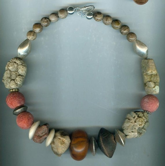 RESERVED LISTING    Sensational fossil necklace with silver beads and African amber