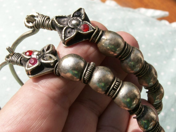 Exquisite huge old Central Asian - East Indian Tribal hoop earrings